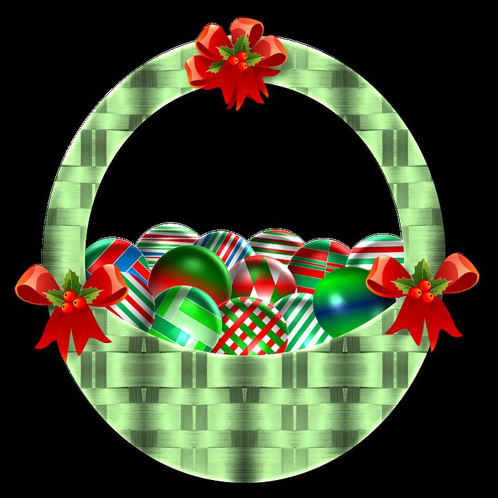 Christmas, Basket, Ornaments, Green, Basket Weave, Red