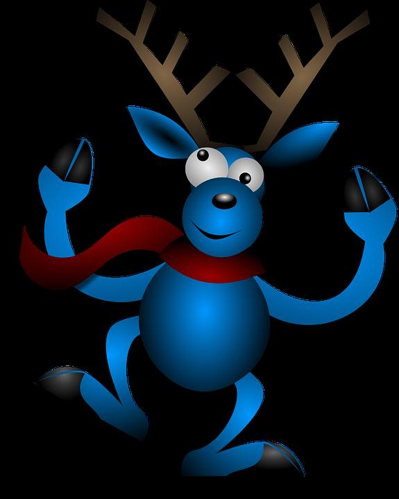Reindeer, Dancing, Blue, Christmas, Noel, X-mas, Xmas