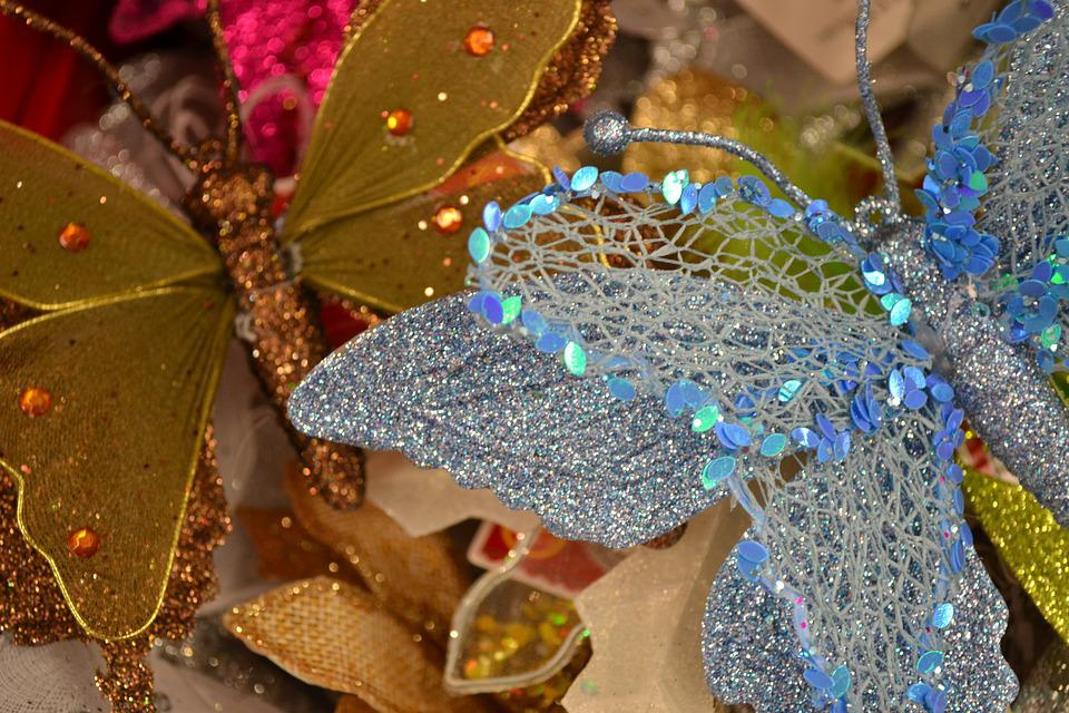 Decorations, Christmas, Sparkle, Blue, Gold