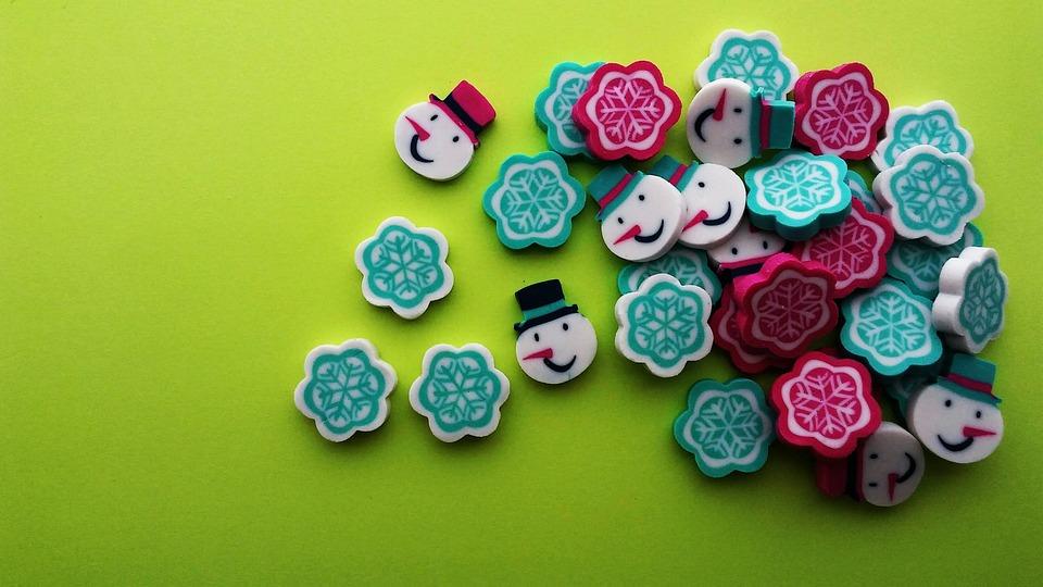 Christmas, Snowman, Snowflakes, Erasers, Bright, Green