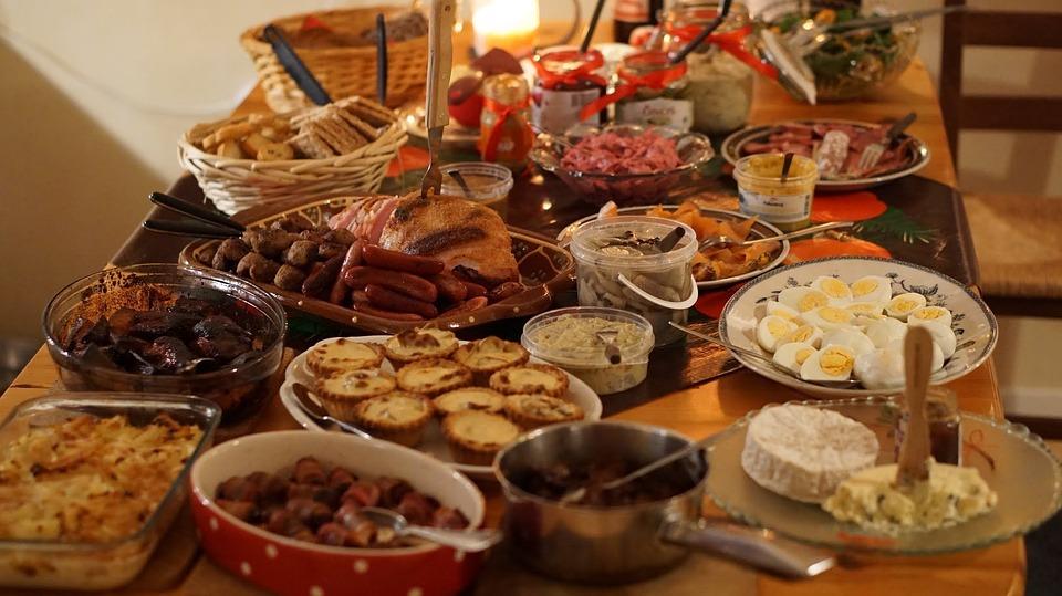 Christmas Dinner, Buffet, Fest, Christmas