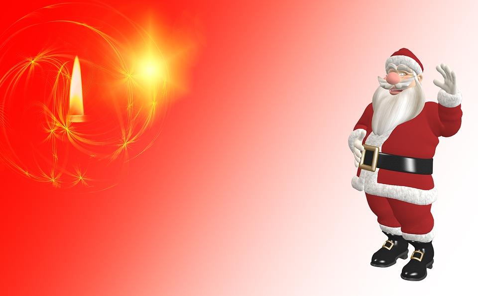 Christmas, Christmas Card, Candle, Santa Claus
