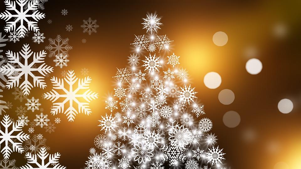 Christmas Tree, Snowflakes, Christmas Card, Christmas