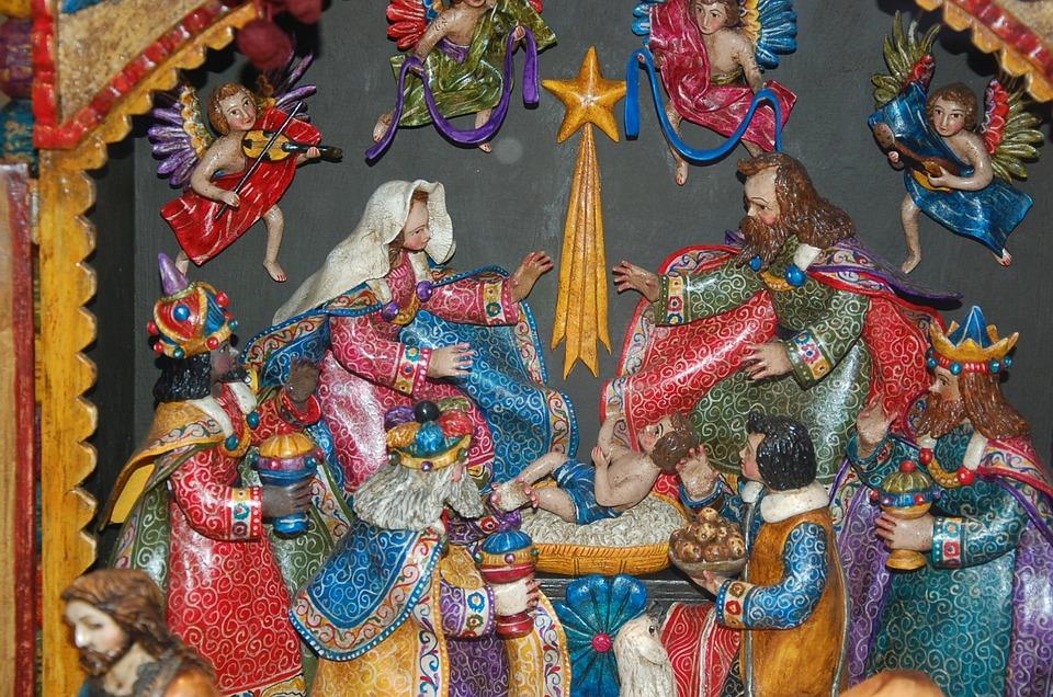 Crib, Christmas, Colorful, Nativity Scene, Santon