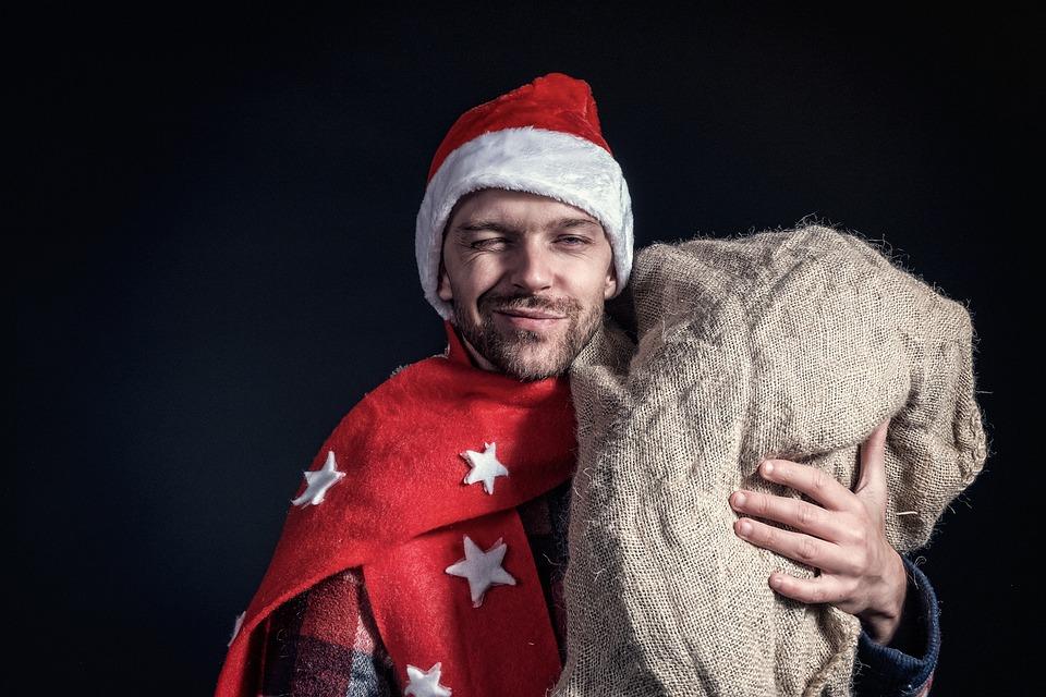 Santa, Christmas, December, Man, Gifts, Red, Winter