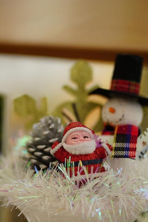 Santa Claus, Wooden, Snowman, Christmas Decoration