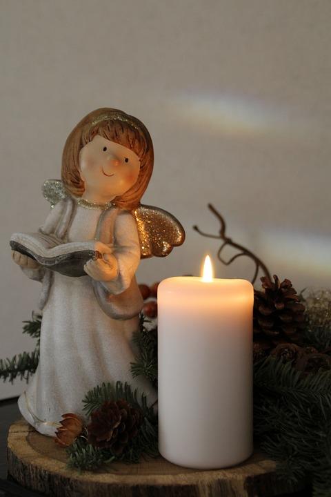 Angel, Christmas, Candle, Figure, Fishing Rod, Advent