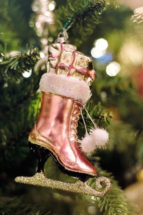 christmas ornament pink ice skate christmas xmas - Ice Skating Christmas Ornaments