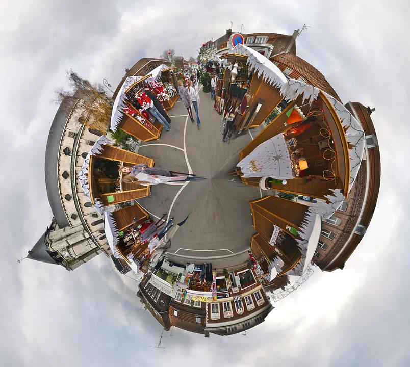 Christmas Market, Church, Chalet, Small Planet