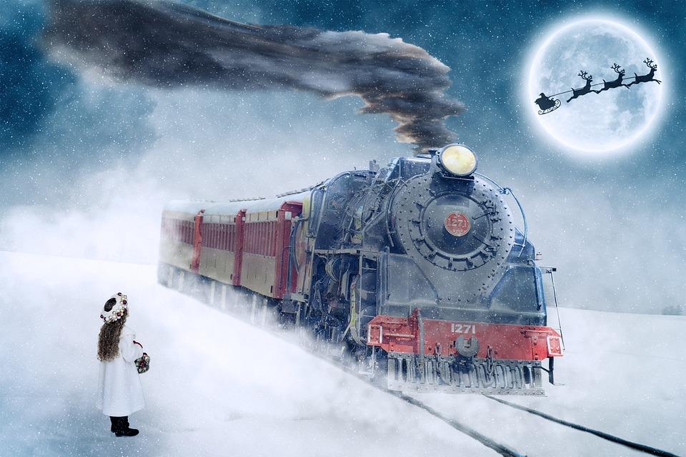 Christmas Motif, Christmas, Advent, Steam Locomotive