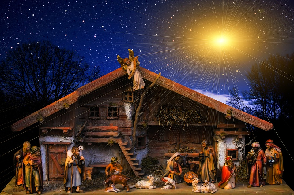 Christmas, Nativity Scene, Crib, Father Christmas, Star