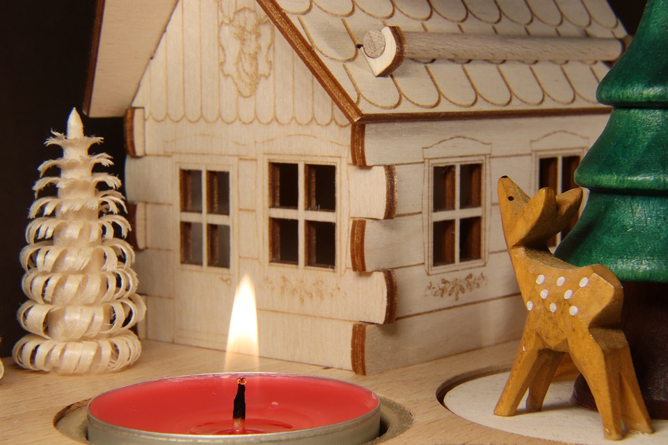 Christmas Pyramid, Candle, Roe Deer, Fawn