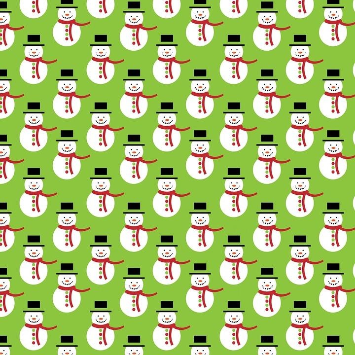 Christmas, Snowman, Green, Background, Paper, Seamless