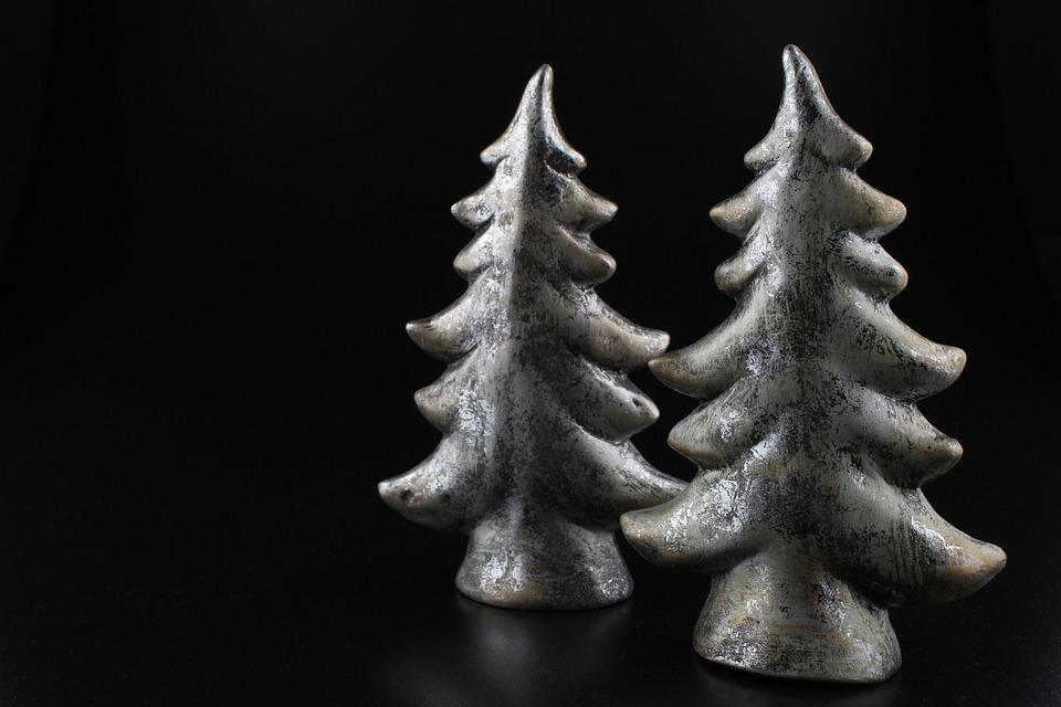 Fir Tree, Christmas, Forest, Deco, Silver, Black