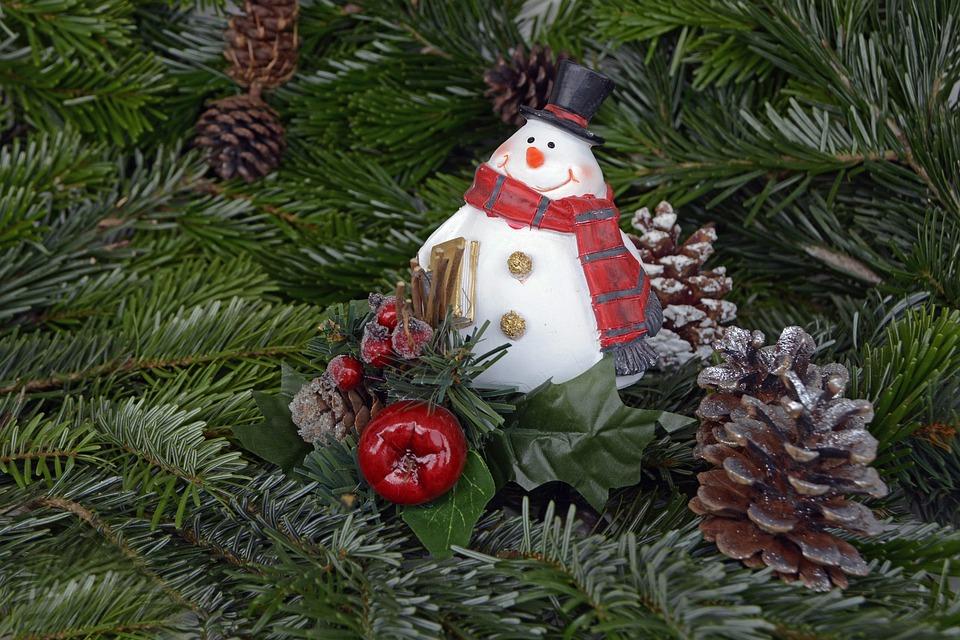 Snow Man, Christmas, Pine Cones, Holly, Advent