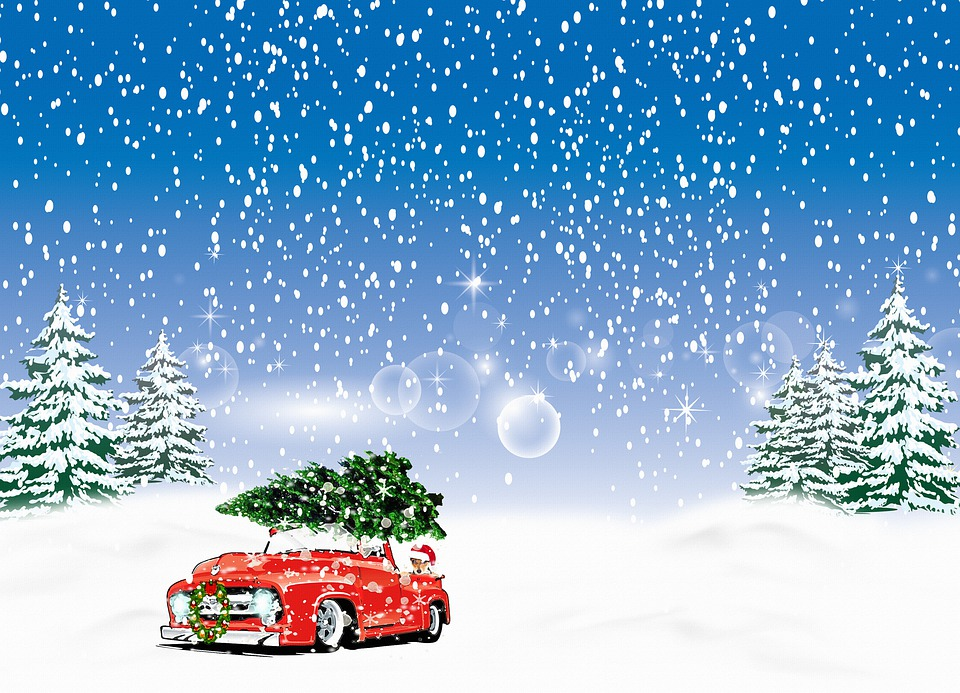 Christmas Snowy Background, Christmas Truck With Tree