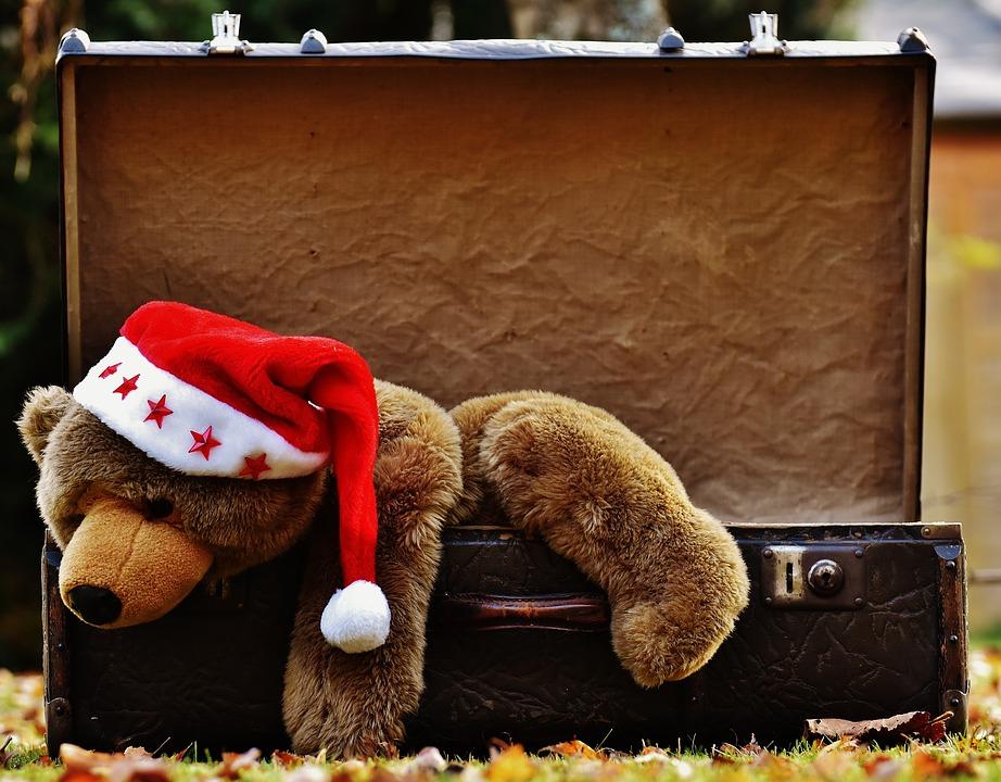 Christmas, Luggage, Antique, Teddy, Soft Toy
