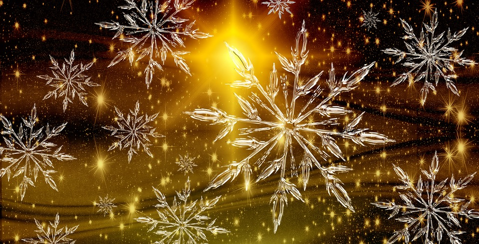Christmas, Star, Ice Crystal, Snowflake, Background