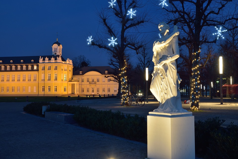 Castle, Christmas, Statue, Blue Hour, Karlsruhe