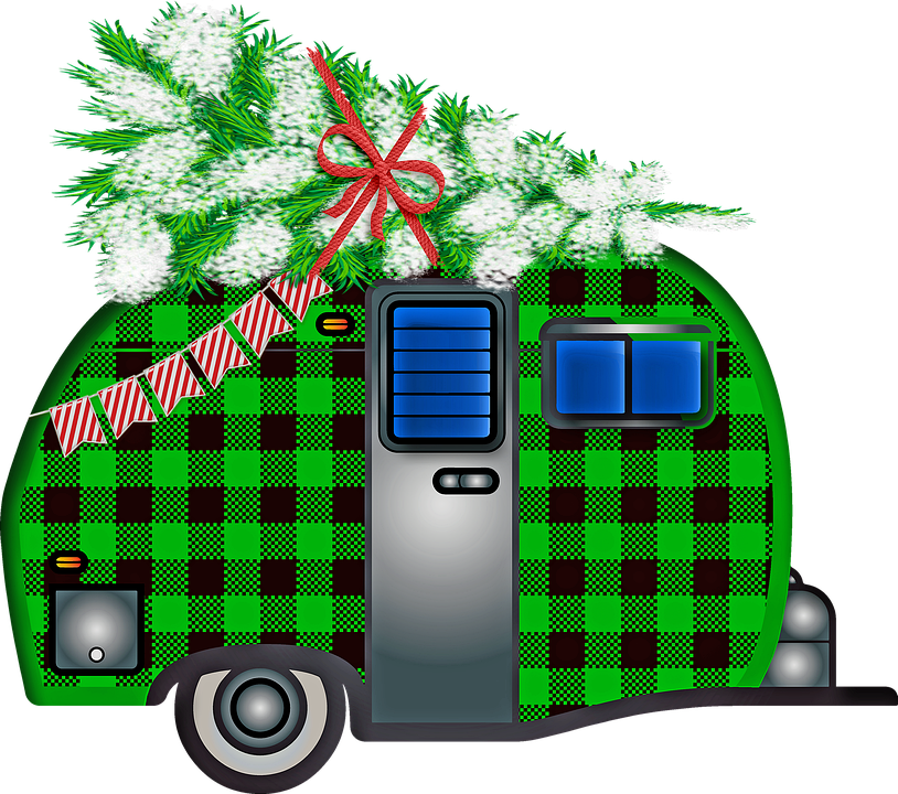 Christmas Trailer, Buffalo Plaid, Christmas Tree