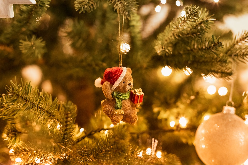Christmas Tree, Bear, Decoration, Christmas, X-mas