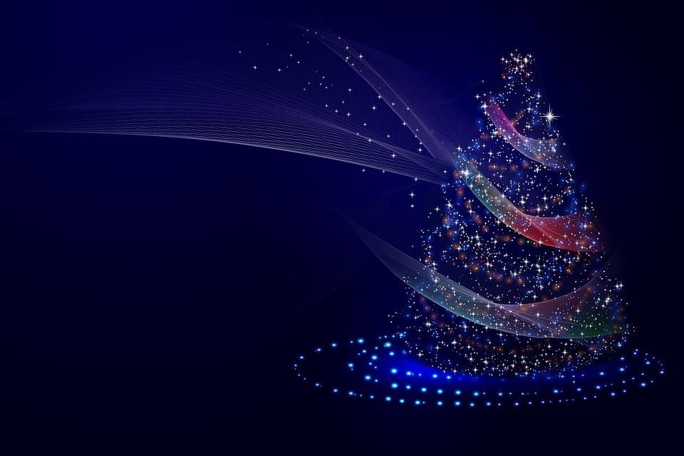 Christmas Tree, Lights, Stars, Glowing, Shining, Shiny