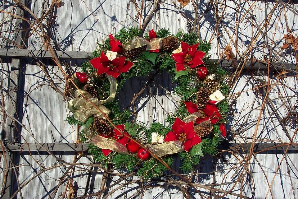 Wreath, Flowers, Floral, Poinsettias, Christmas, Winter