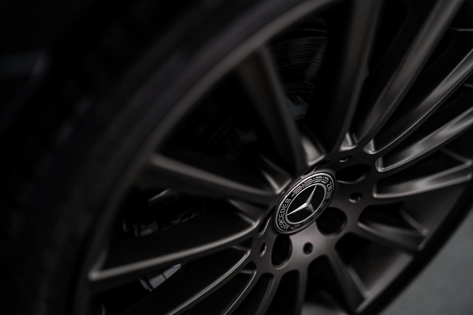 Car, Benz, Mercedes, Rim, Tyre, Black, Chrome, Dark