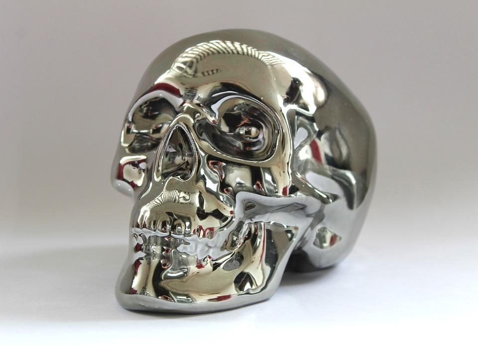 Skull And Crossbones, Silver, Metal, Figure, Chrome
