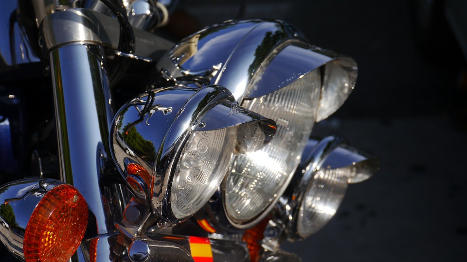 Chrome, Motorcycle, Lamps, Reflection