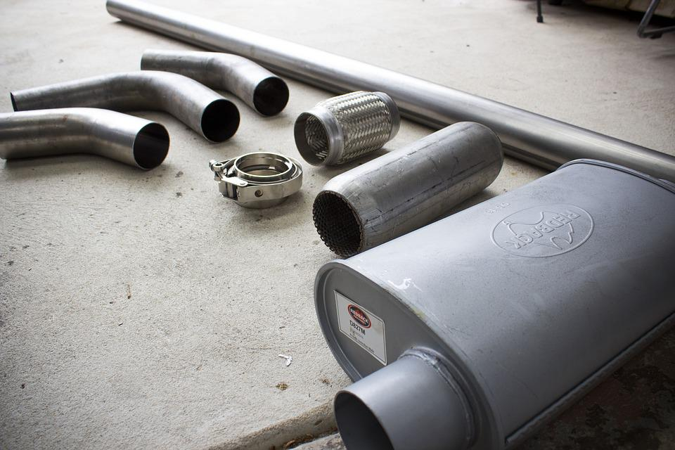 Exhaust, Weld, Steel, Muffler, Chrome, Metallic, Pipe