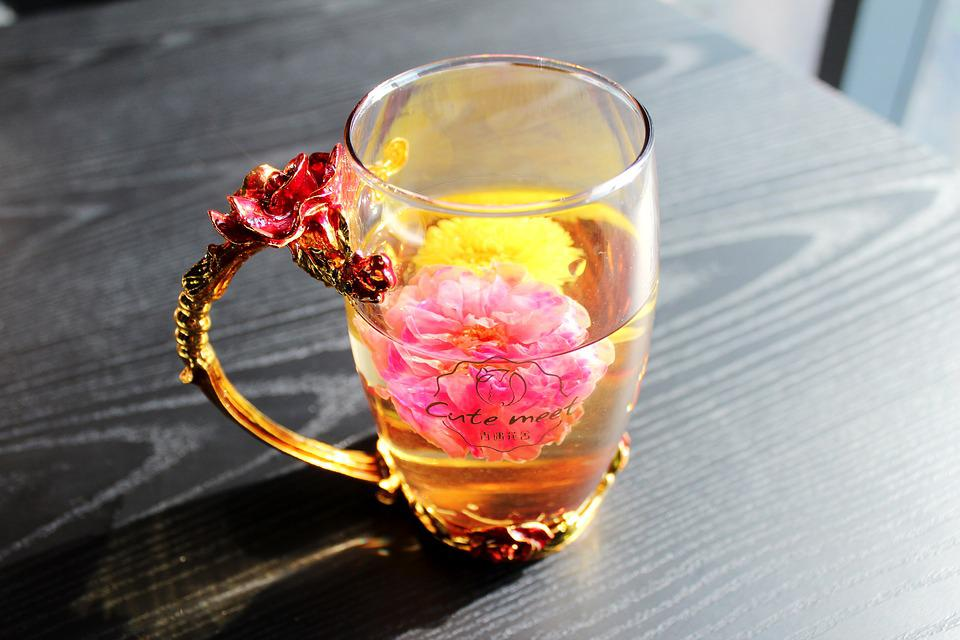 Tea Rose Corolla, Chrysanthemum Tea, Enamel Cup, Cup