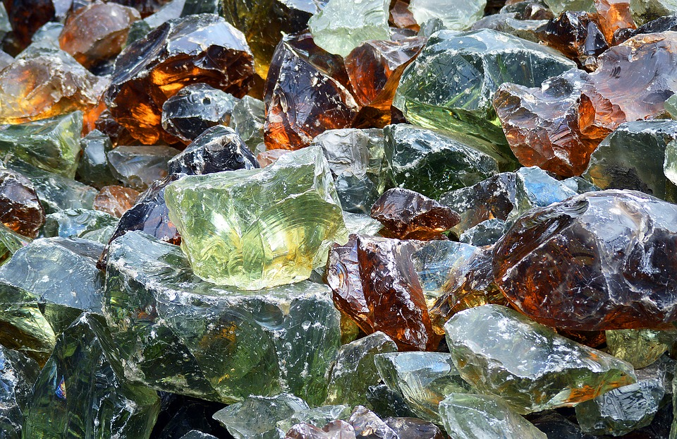 Recycled, Garden, Glass, Rocks, Chunks, Colorful