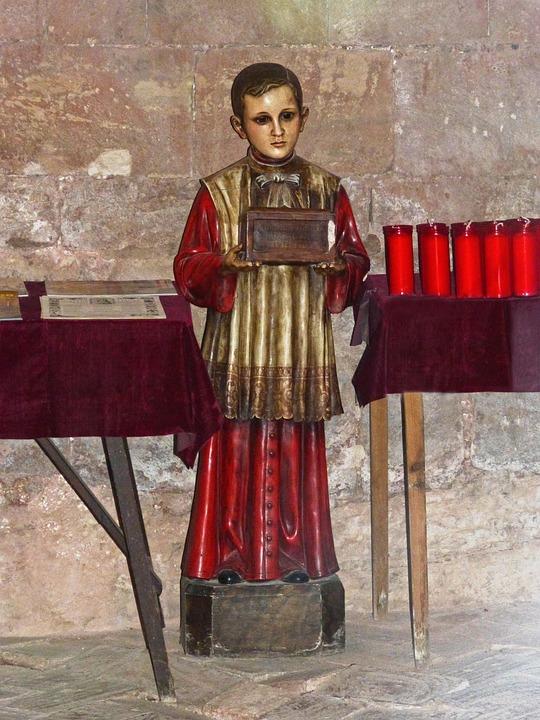 Altar Boy, Alms, Church, Statue, Piggy Bank