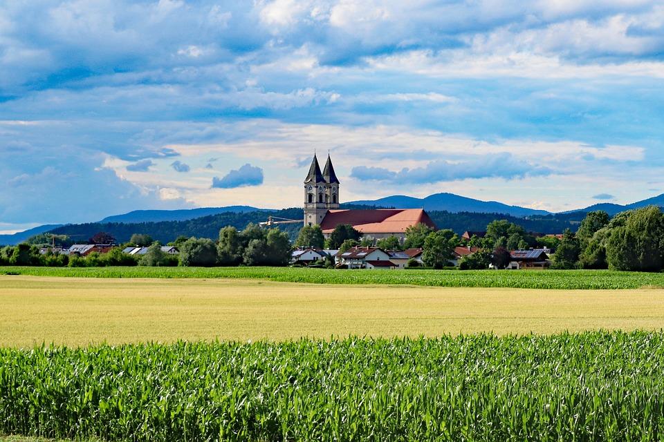 Church, Field, Sky, Monastery, Landscape, Bavaria