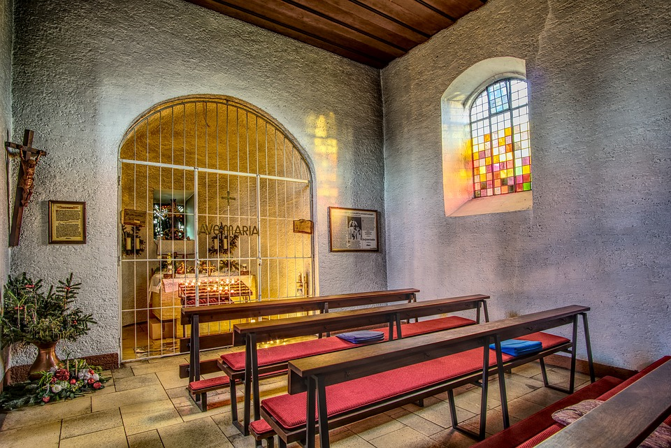 Chapel, Benches, Pray, Church, Religion, Architecture