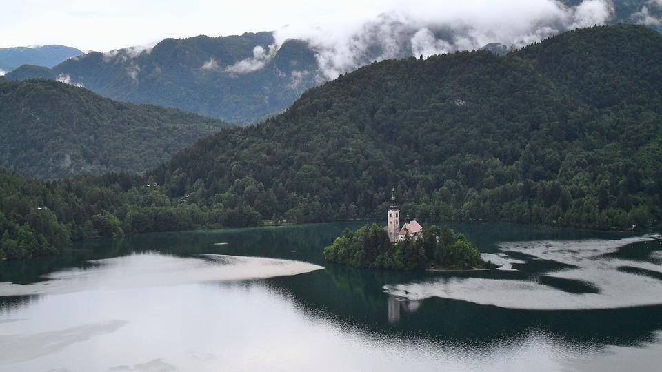 Lake, Bled, Church, Slovenia, Island, Mountains, Clouds