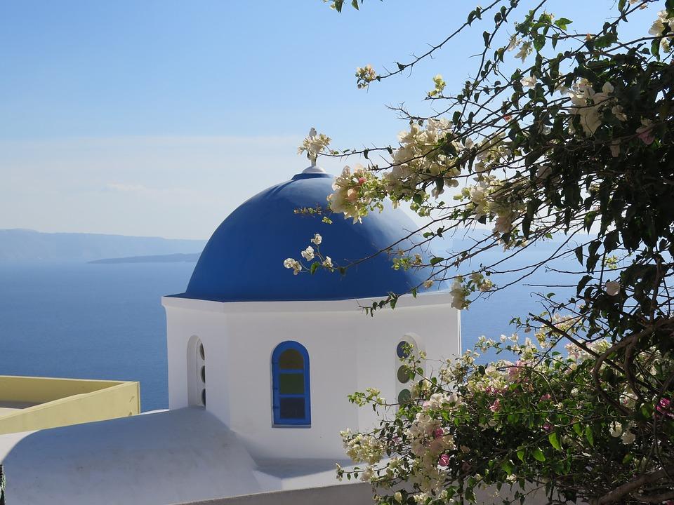 Santorini, Church, Blue Sky, Greece