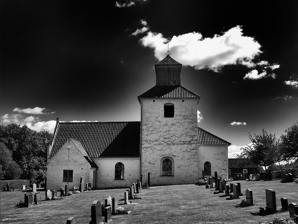 Sweden, Church, Building, Architecture, Sky, Clouds