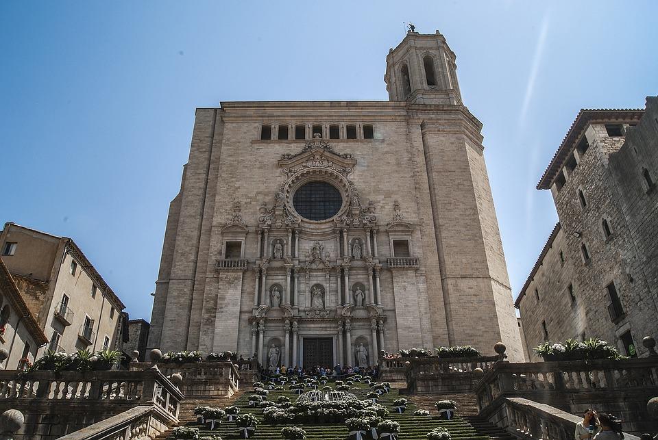 Cathedral, Church, Gerona, Facade, Building, Stone
