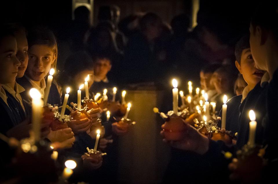 Christmas, Children, Candle, Christdingle, Church