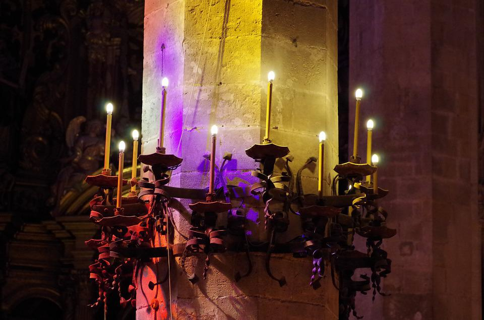 Cathedral, Church, Lights, Pillar, Candles