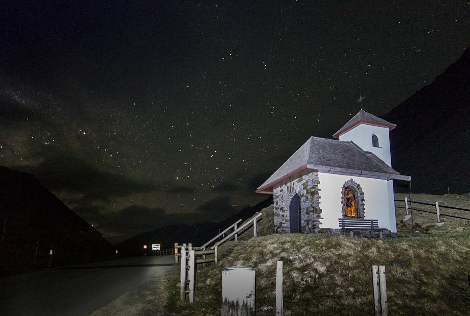 Chapel, Church, Night, Small Church, Alpine, Bell Tower