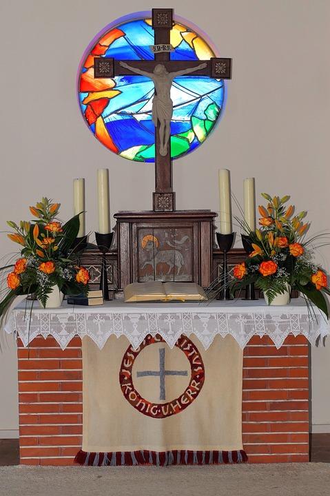 Church, Altar, Cross, Christian, Religion, Art, Germany