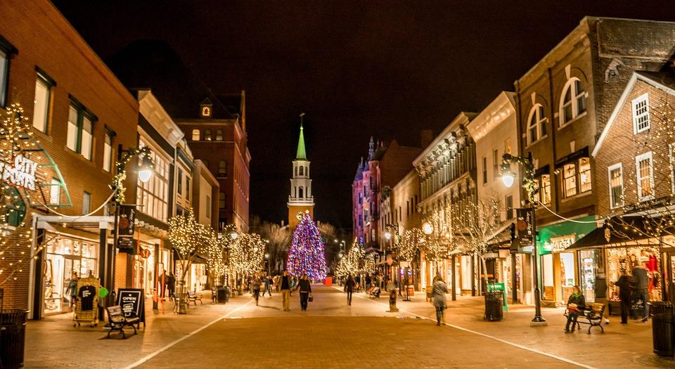 Church Street, Christmas Tree, Church, Burlington
