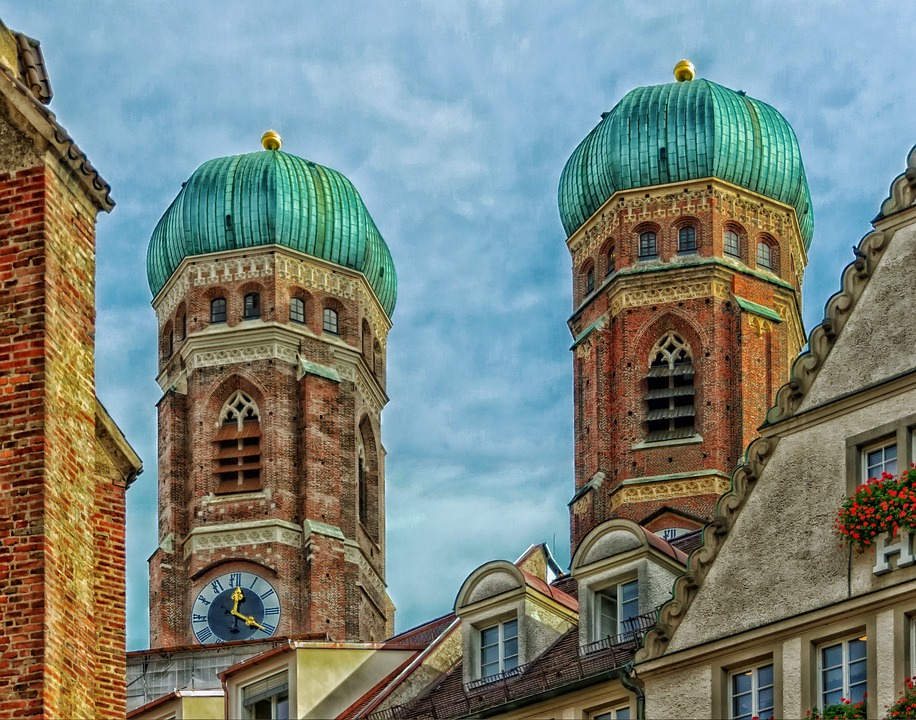 Munich, Germany, Church, Towers, Clock Tower