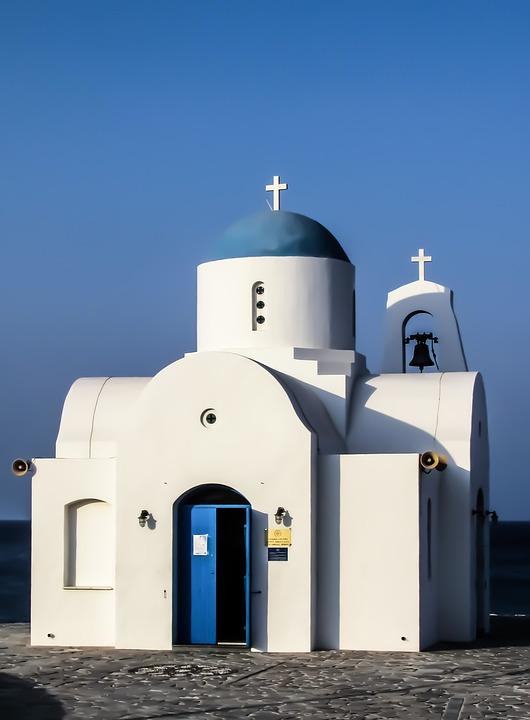 Church, White, Blue, Summer, Cyprus, Religion