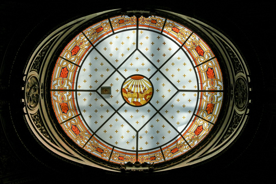 Glass Painting, Church, Fides, Yellow, Orange