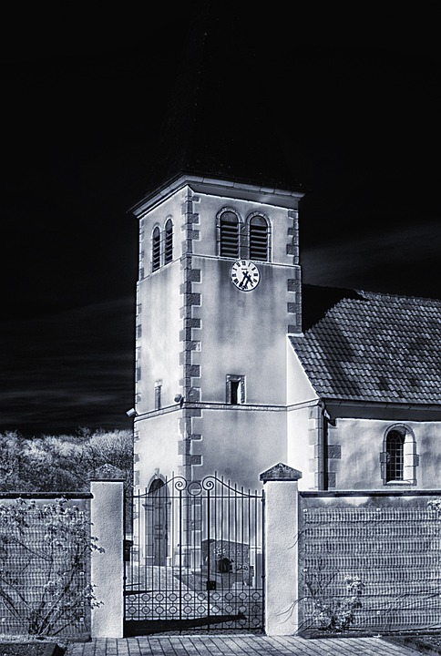 Abergement-la-ronce, France, Church, Night, Evening