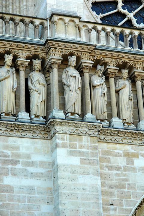 France, Paris, Church, West Rose, Detail